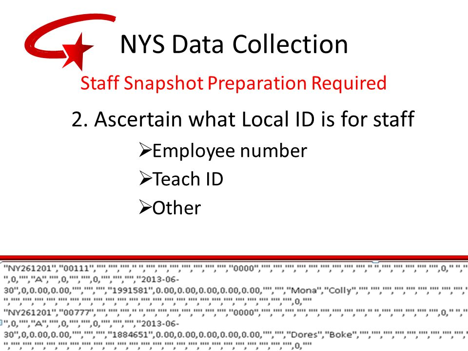 2. Ascertain what Local ID is for staff  Employee number  Teach ID  Other NYS Data Collection Staff Snapshot Preparation Required