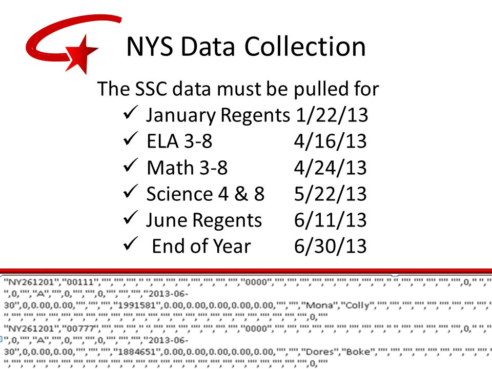 The SSC data must be pulled for January Regents 1/22/13 ELA 3-8 4/16/13 Math 3-8 4/24/13 Science 4 & 85/22/13 June Regents 6/11/13 End of Year6/30/13 NYS Data Collection