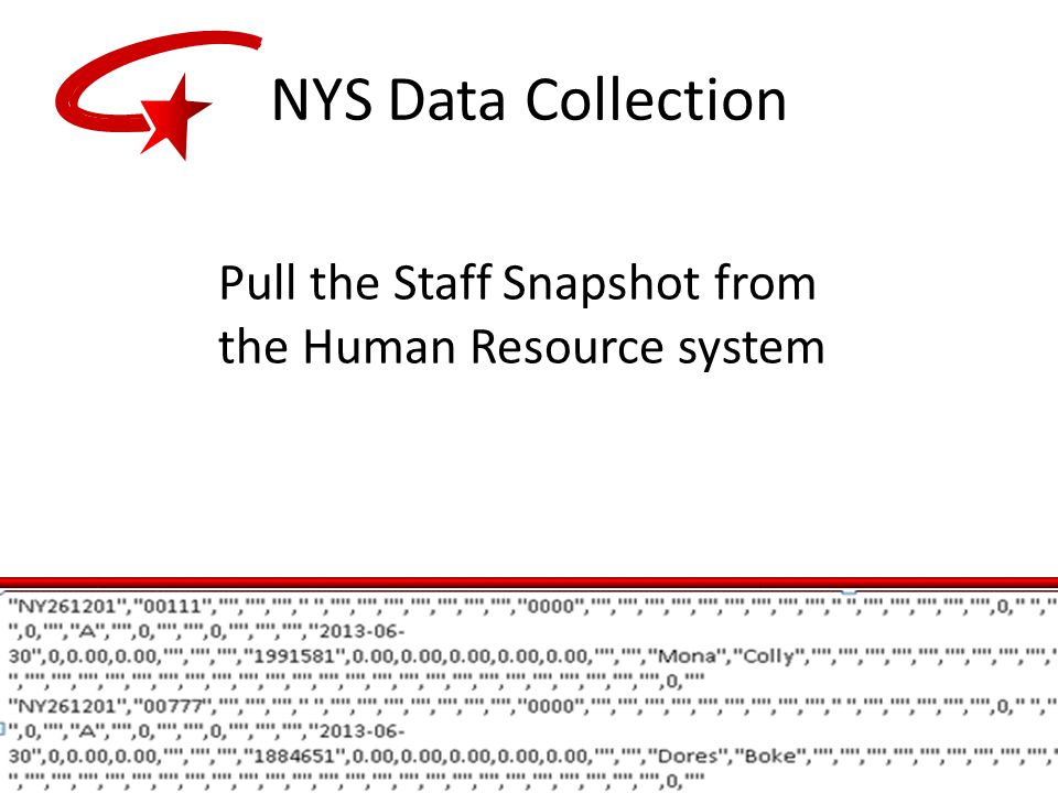 Pull the Staff Snapshot from the Human Resource system NYS Data Collection