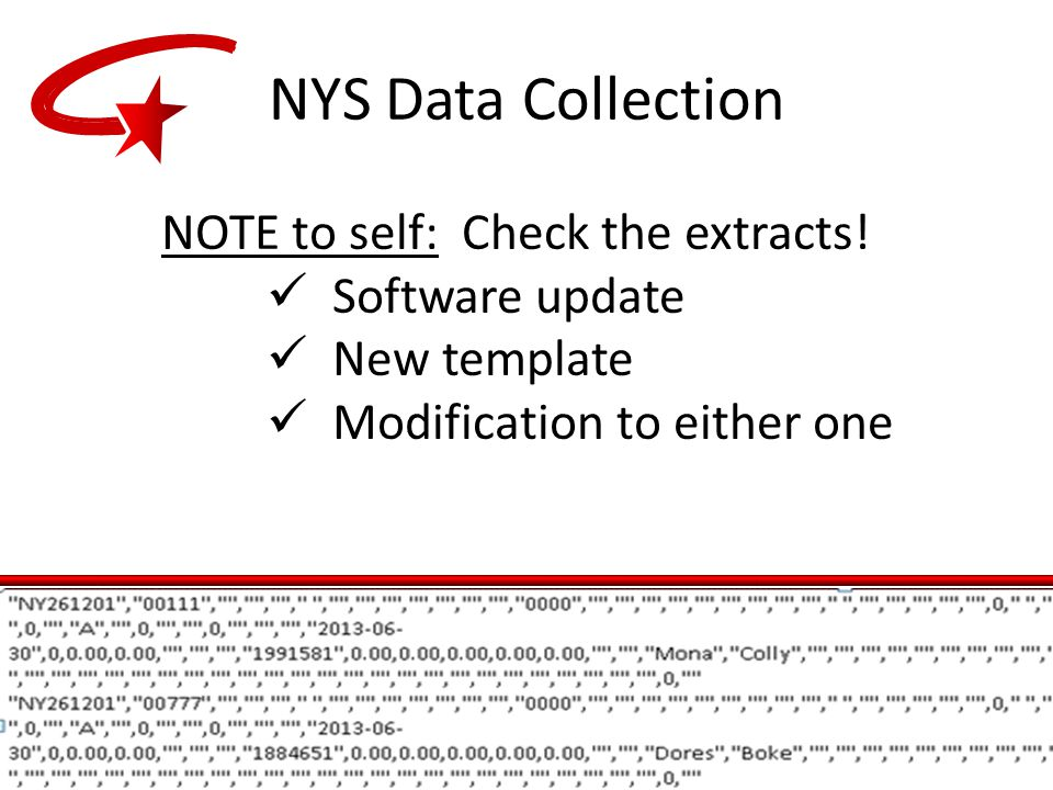 NOTE to self: Check the extracts! Software update New template Modification to either one