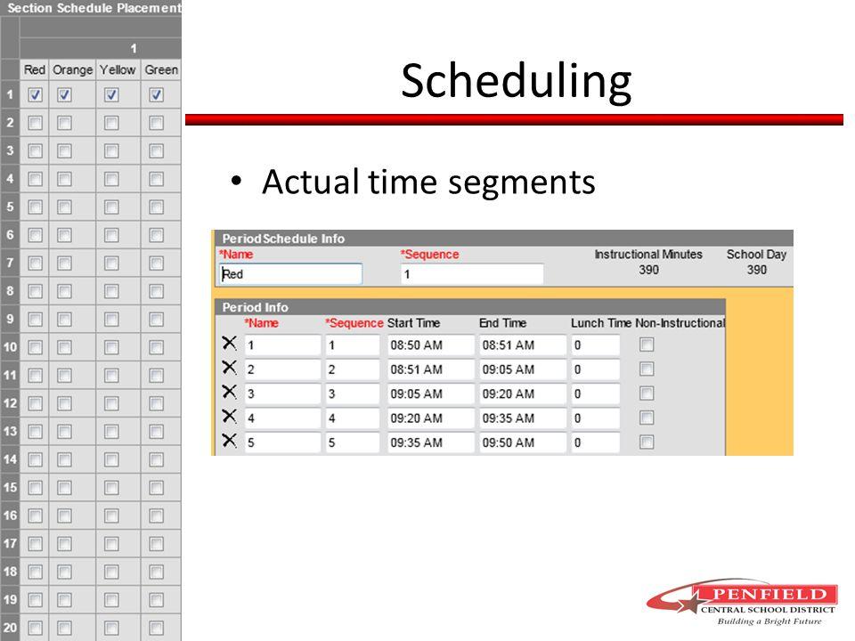 Actual time segments