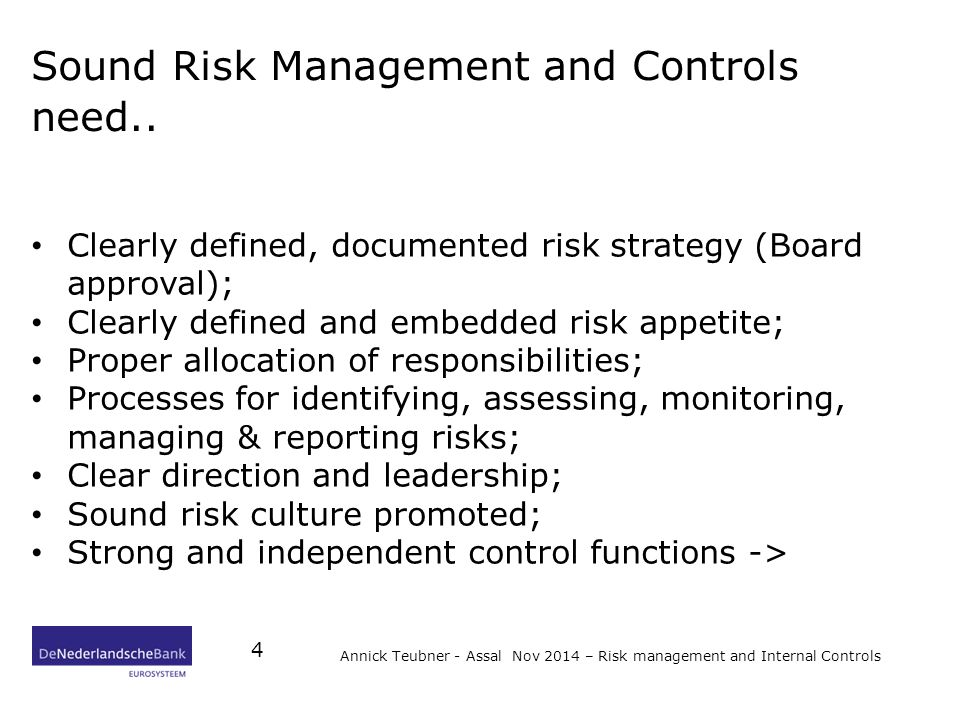 Sound Risk Management and Controls need..