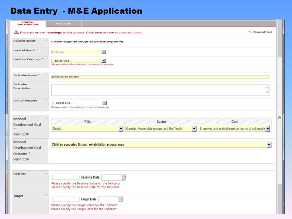 Data Entry - M&E Application