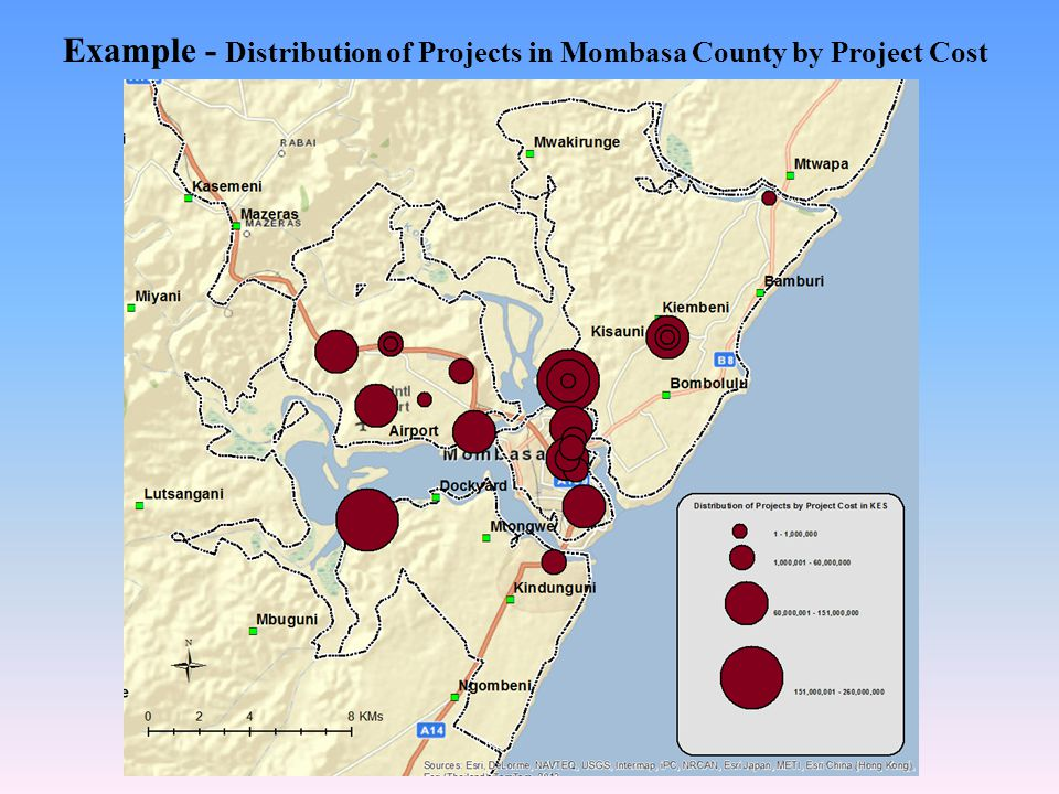 Example - Distribution of Projects in Mombasa County by Project Cost