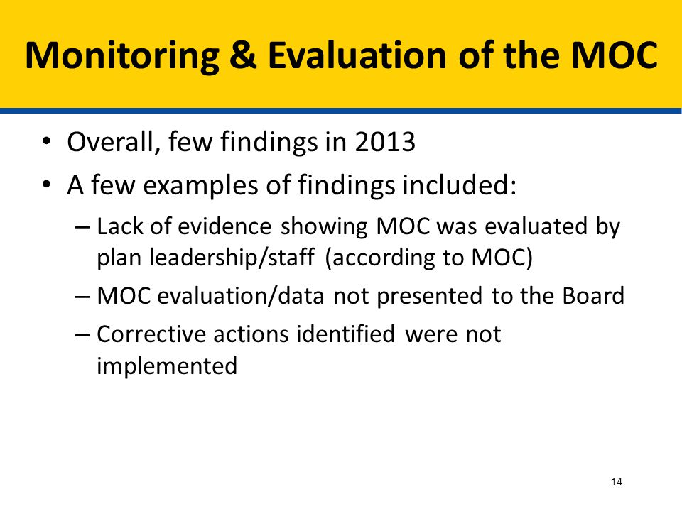Monitoring & Evaluation of the MOC Overall, few findings in 2013 A few examples of findings included: – Lack of evidence showing MOC was evaluated by plan leadership/staff (according to MOC) – MOC evaluation/data not presented to the Board – Corrective actions identified were not implemented 14