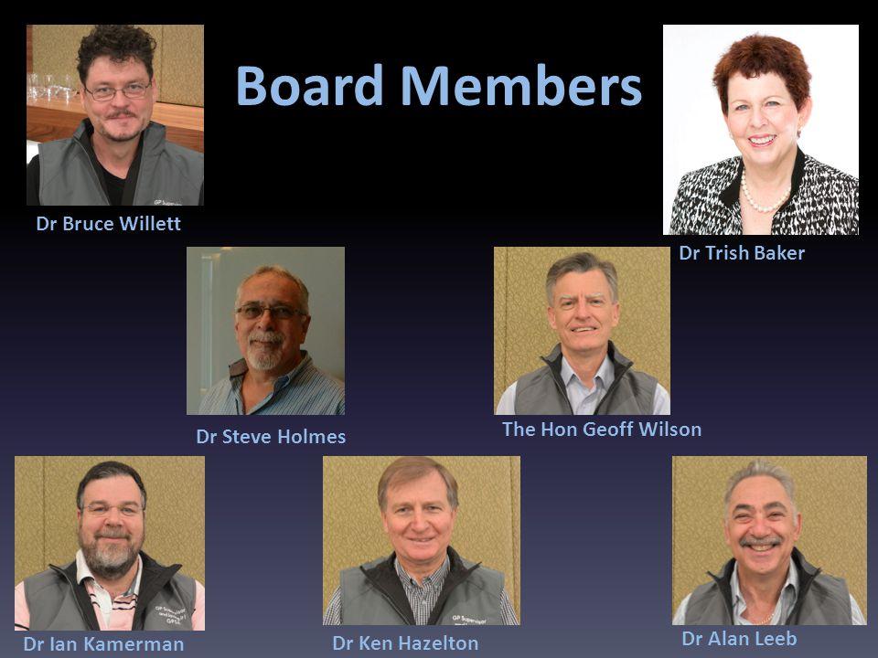 Board Members Dr Trish Baker Dr Alan Leeb The Hon Geoff Wilson Dr Ken Hazelton Dr Ian Kamerman Dr Steve Holmes Dr Bruce Willett