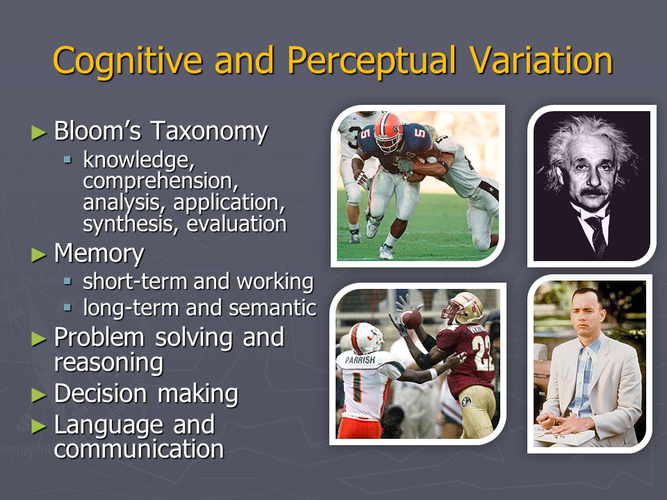 Cognitive and Perceptual Variation ► Language and communication ► Search, imagery, sensory memory ► Learning, skill development, knowledge acquisition ► Confounding factors:  Fatigue  Cognitive load  Background  Boredom  Fear  Drugs/alcohol