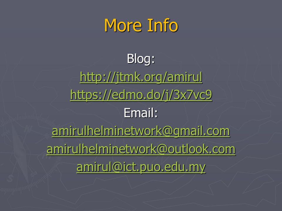 More Info Blog: http://jtmk.org/amirul https://edmo.do/j/3x7vc9 Email: amirulhelminetwork@gmail.com amirulhelminetwork@outlook.com amirul@ict.puo.edu.