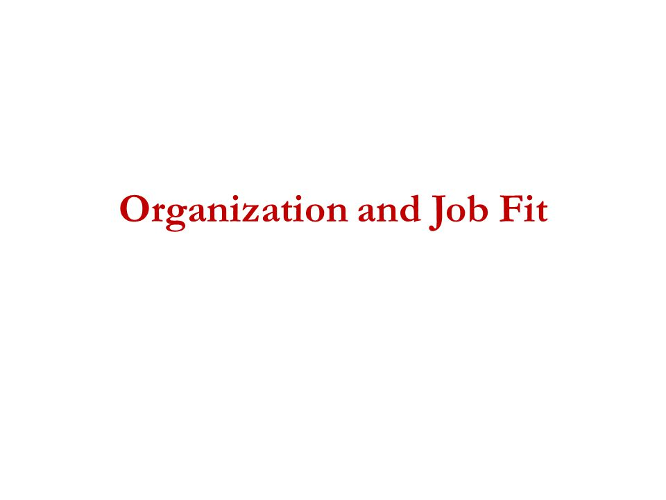 Organization and Job Fit