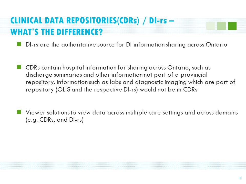 CLINICAL DATA REPOSITORIES(CDRs) / DI-rs – WHAT'S THE DIFFERENCE.