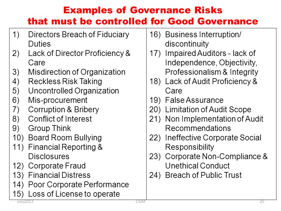 Examples of Governance Risks that must be controlled for Good Governance 1)Directors Breach of Fiduciary Duties 2)Lack of Director Proficiency & Care