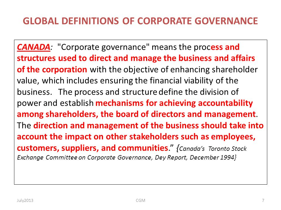 GLOBAL DEFINITIONS OF CORPORATE GOVERNANCE CANADA: