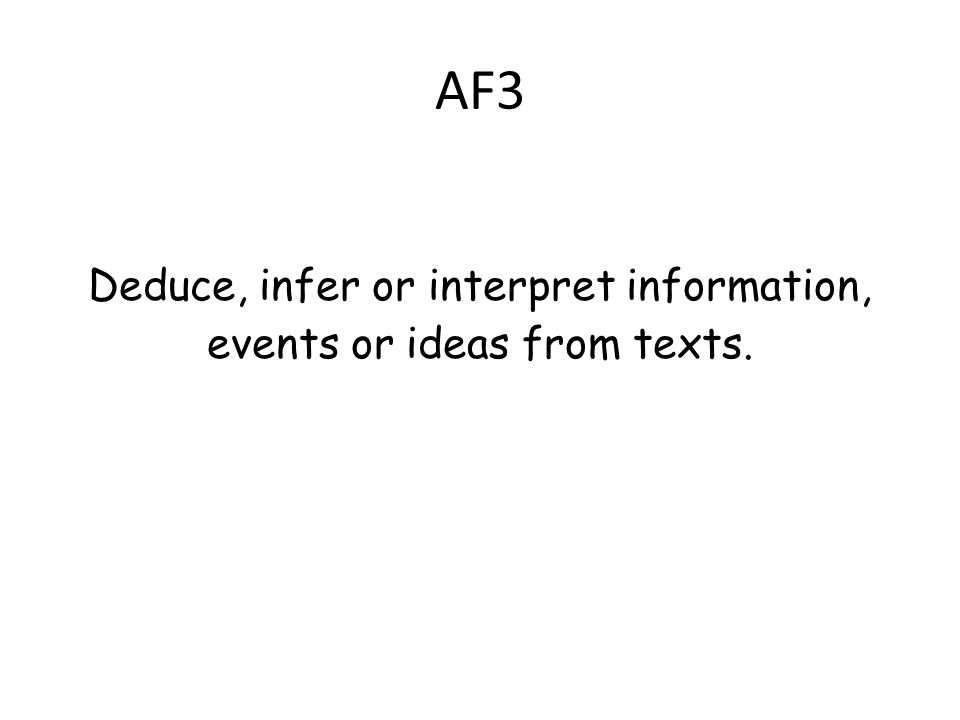 AF3 Deduce, infer or interpret information, events or ideas from texts.