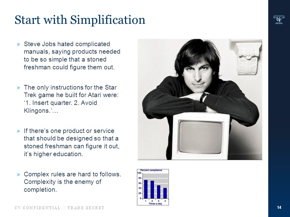 U V C O N F I D E N T I A L // T R A D E S E C R E T Start with Simplification 14 »Steve Jobs hated complicated manuals, saying products needed to be so simple that a stoned freshman could figure them out.