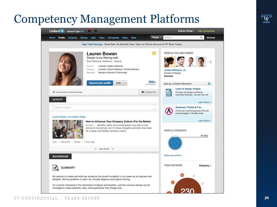 U V C O N F I D E N T I A L // T R A D E S E C R E T Competency Management Platforms 24