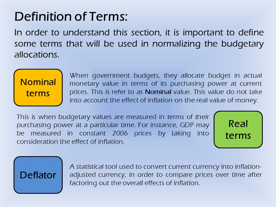 Definition of Terms: In order to understand this section, it is important to define some terms that will be used in normalizing the budgetary allocations.