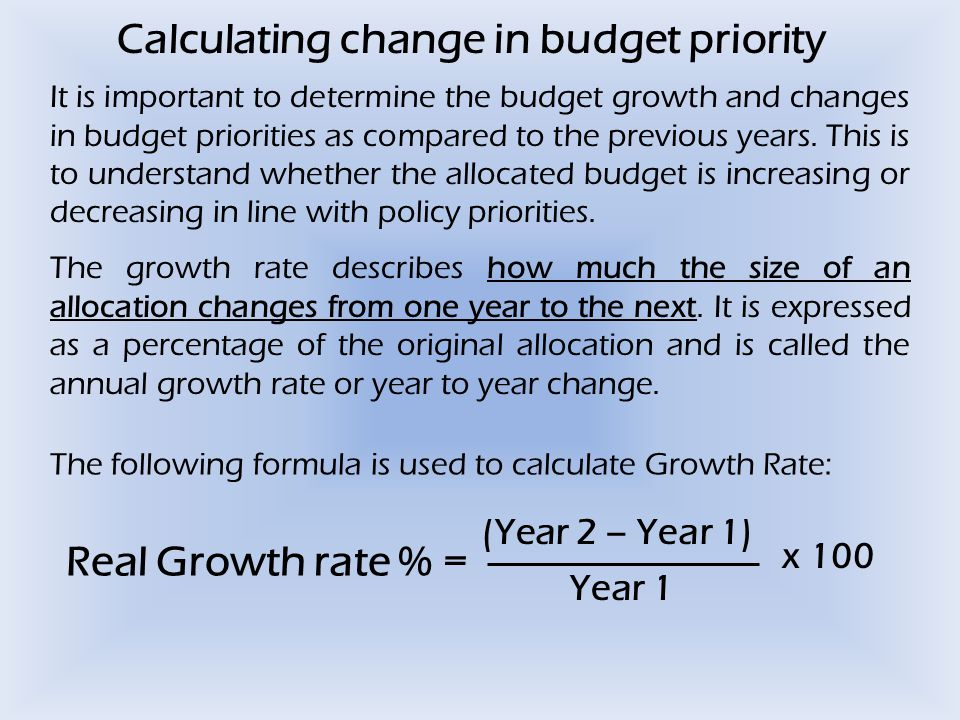 Calculating change in budget priority It is important to determine the budget growth and changes in budget priorities as compared to the previous years.