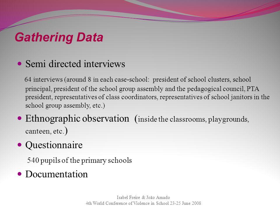 Gathering Data Semi directed interviews 64 interviews (around 8 in each case-school: president of school clusters, school principal, president of the