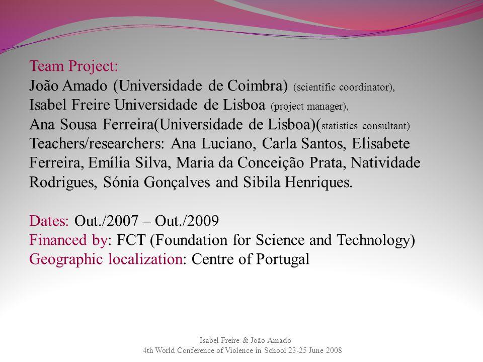 Isabel Freire & João Amado 4th World Conference of Violence in School 23-25 June 2008 Team Project: João Amado (Universidade de Coimbra) (scientific c