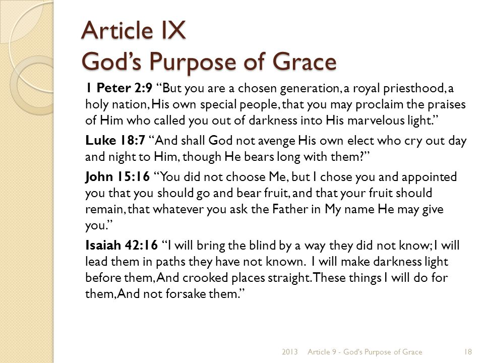 """Article IX God's Purpose of Grace 1 Peter 2:9 """"But you are a chosen generation, a royal priesthood, a holy nation, His own special people, that you ma"""