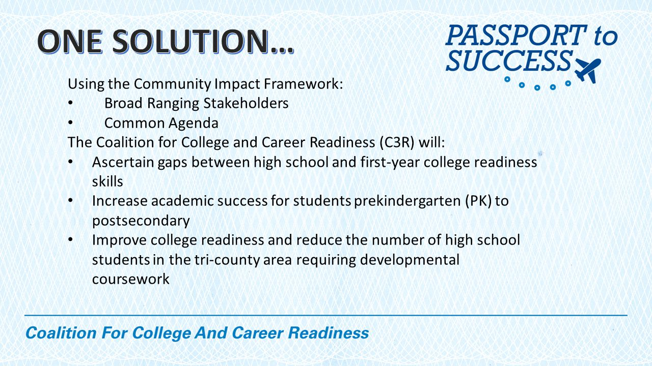 Using the Community Impact Framework: Broad Ranging Stakeholders Common Agenda The Coalition for College and Career Readiness (C3R) will: Ascertain gaps between high school and first-year college readiness skills Increase academic success for students prekindergarten (PK) to postsecondary Improve college readiness and reduce the number of high school students in the tri-county area requiring developmental coursework