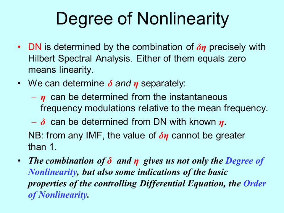 Degree of Nonlinearity DN is determined by the combination of δη precisely with Hilbert Spectral Analysis.