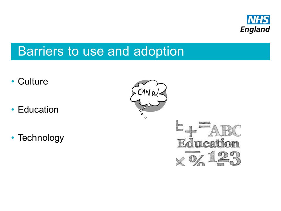 Culture Education Technology Barriers to use and adoption