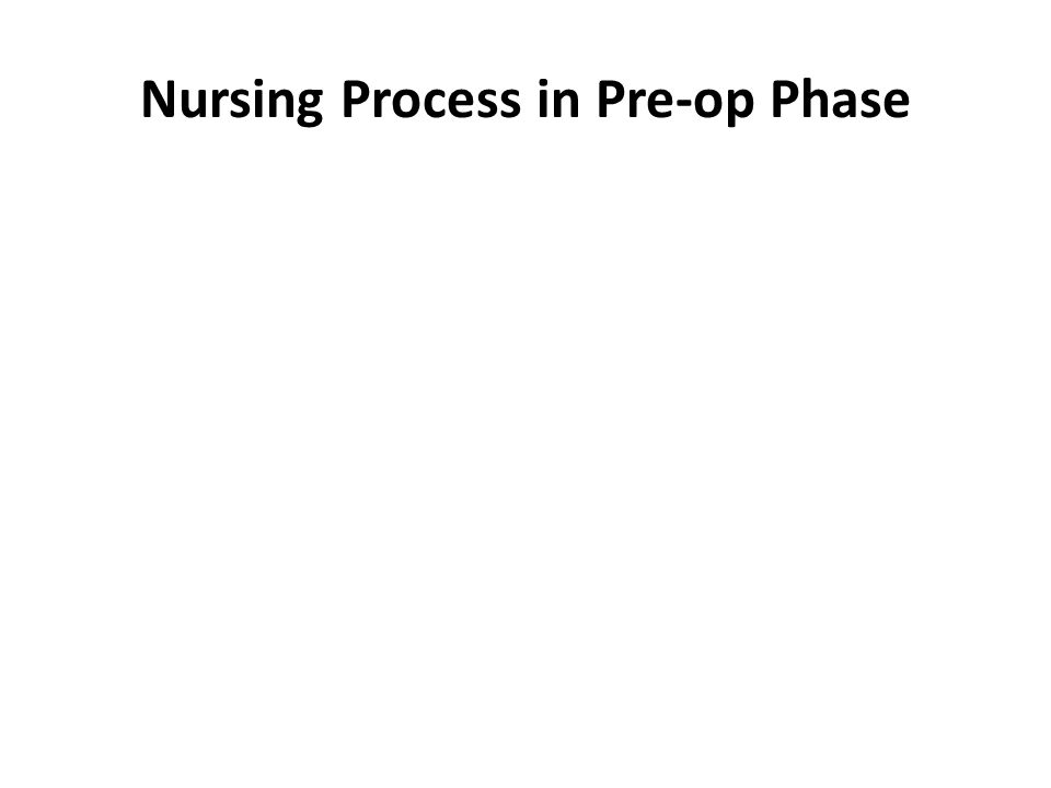 Nursing Process in Pre-op Phase