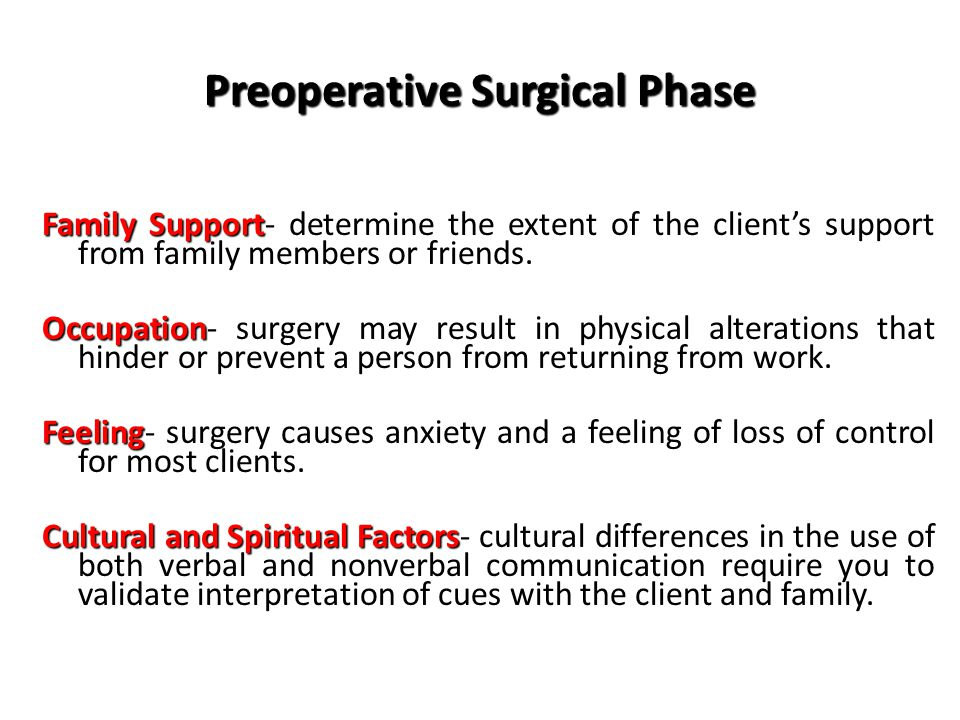 Preoperative Surgical Phase Family Support Family Support- determine the extent of the client's support from family members or friends.