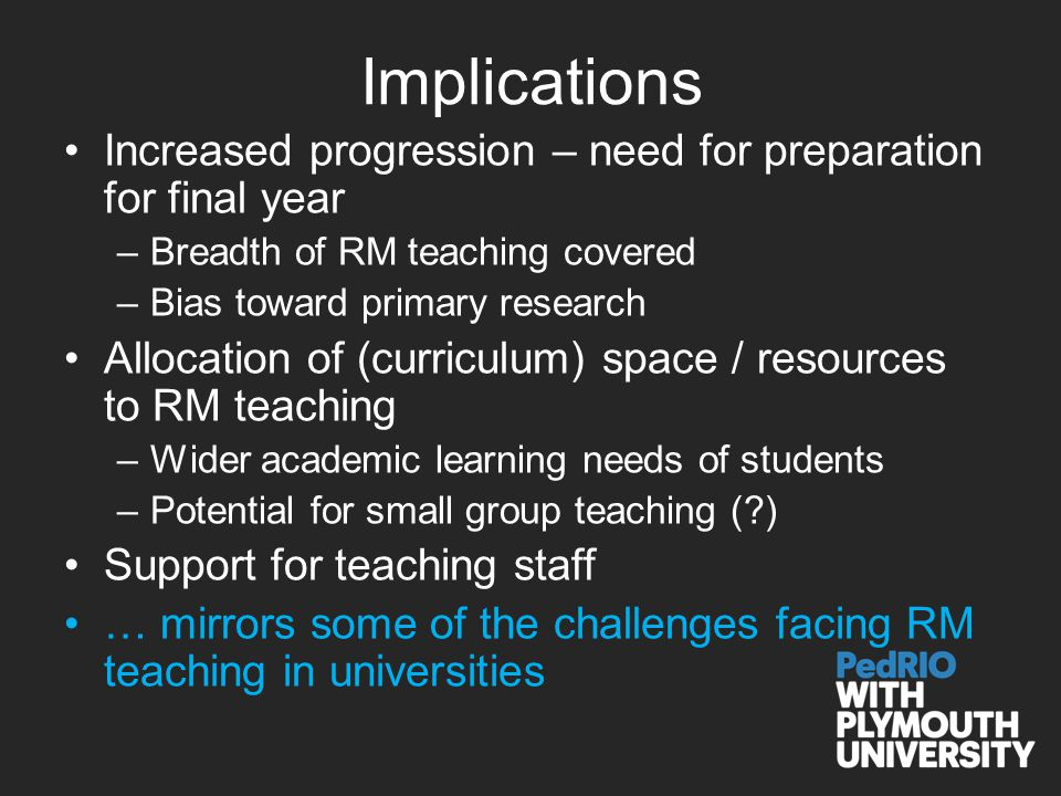 Implications Increased progression – need for preparation for final year –Breadth of RM teaching covered –Bias toward primary research Allocation of (curriculum) space / resources to RM teaching –Wider academic learning needs of students –Potential for small group teaching ( ) Support for teaching staff … mirrors some of the challenges facing RM teaching in universities