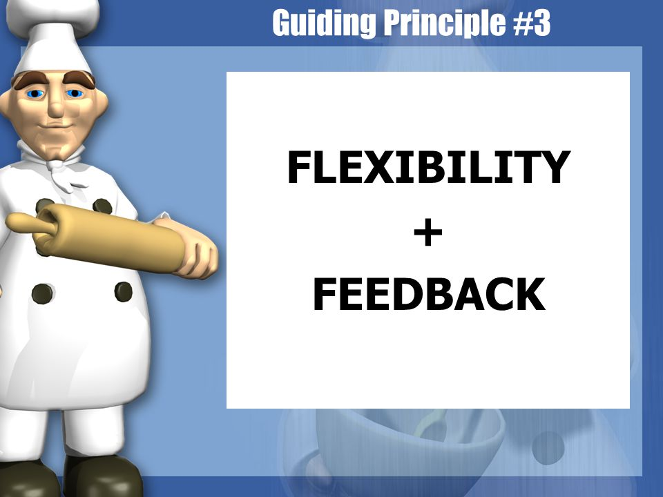 Guiding Principle #3 FLEXIBILITY + FEEDBACK
