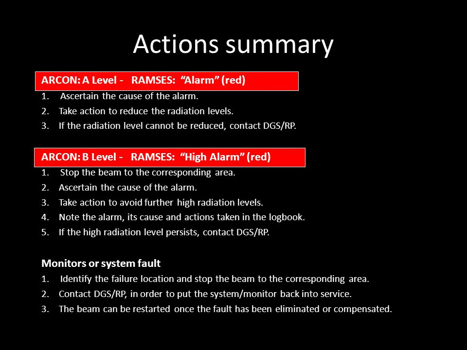 Actions summary ARCON: A Level - RAMSES: Alarm (red) 1.