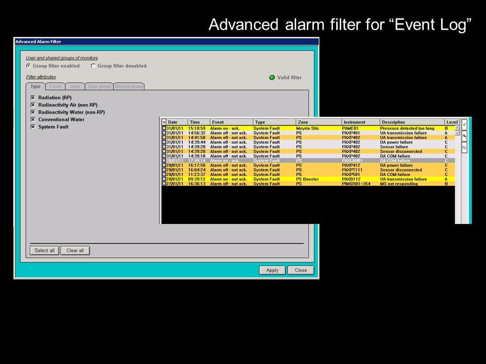 Advanced alarm filter for Event Log