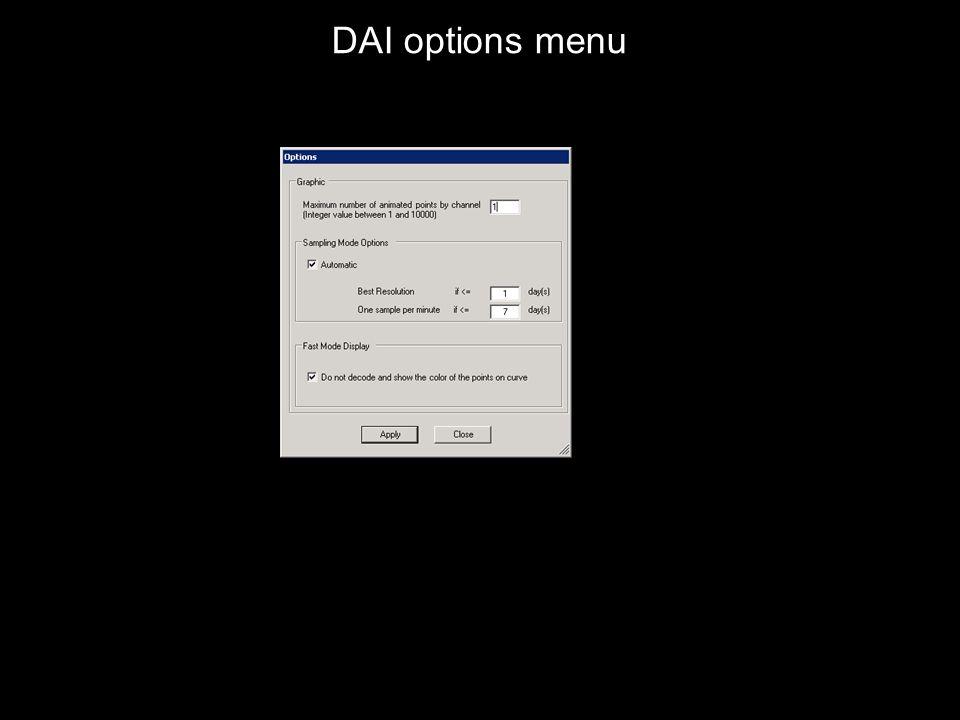 DAI options menu