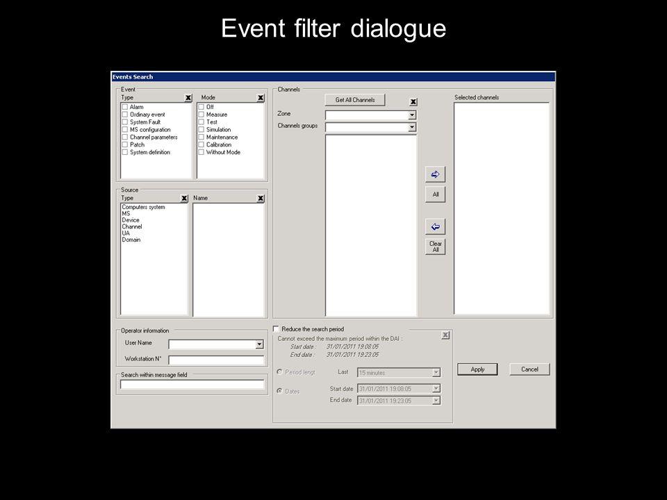 Event filter dialogue