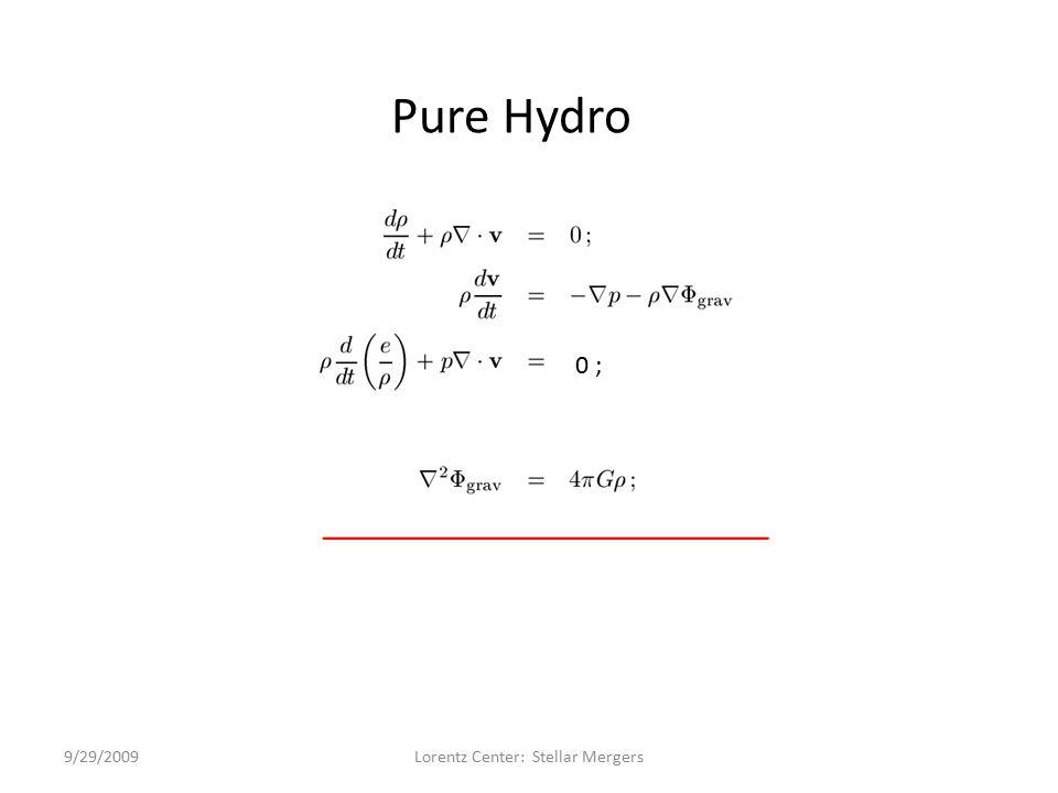 0; Pure Hydro 0 ; 9/29/2009Lorentz Center: Stellar Mergers