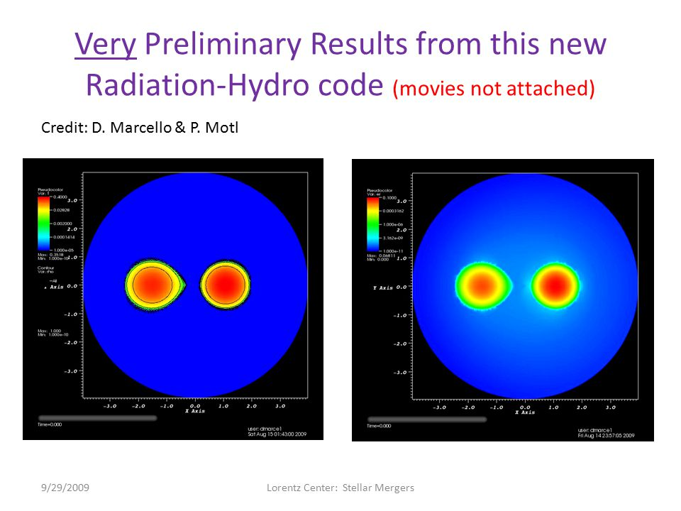 Very Preliminary Results from this new Radiation-Hydro code (movies not attached) 9/29/2009Lorentz Center: Stellar Mergers Credit: D.