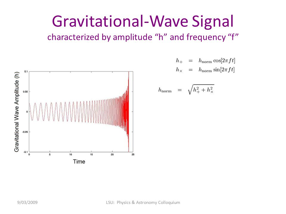 """Gravitational-Wave Signal characterized by amplitude """"h"""" and frequency """"f"""" 9/03/2009LSU: Physics & Astronomy Colloquium"""