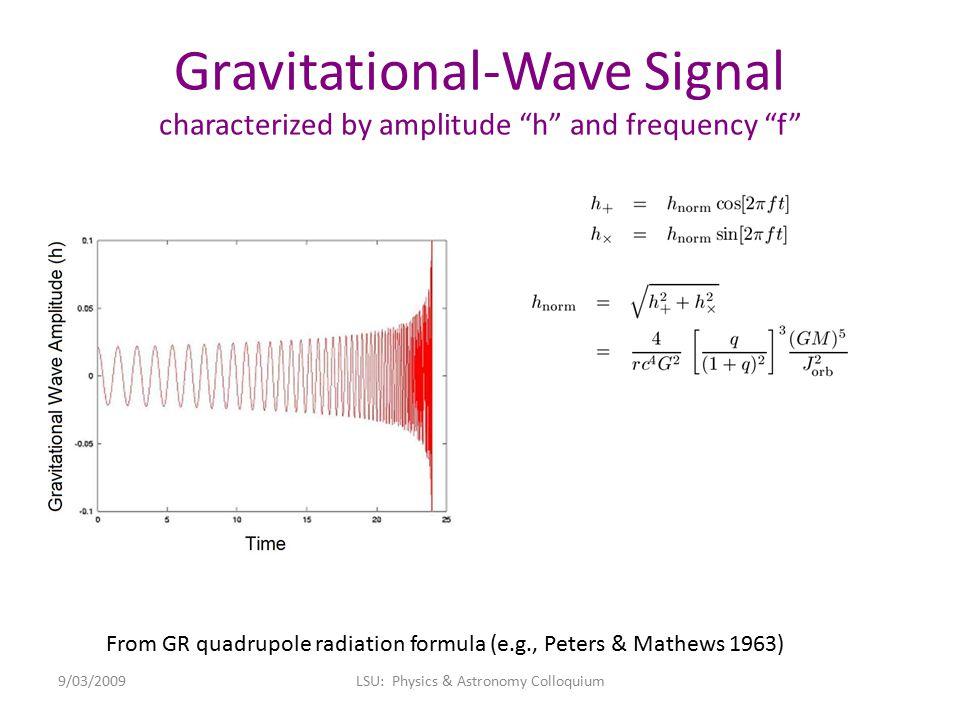 """Gravitational-Wave Signal characterized by amplitude """"h"""" and frequency """"f"""" From GR quadrupole radiation formula (e.g., Peters & Mathews 1963) 9/03/200"""