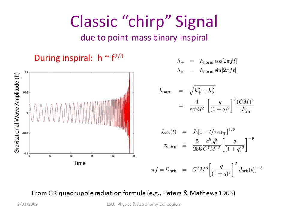 """Classic """"chirp"""" Signal due to point-mass binary inspiral From GR quadrupole radiation formula (e.g., Peters & Mathews 1963) 9/03/2009LSU: Physics & As"""