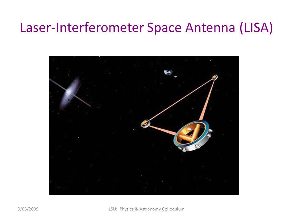 Laser-Interferometer Space Antenna (LISA) 9/03/2009LSU: Physics & Astronomy Colloquium