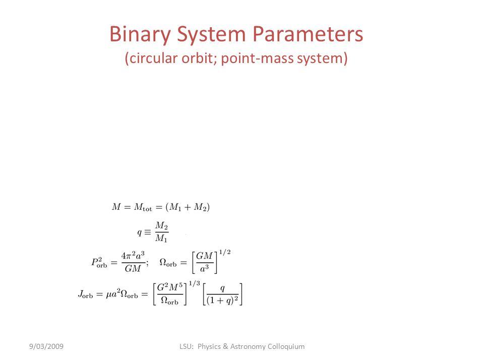 Binary System Parameters (circular orbit; point-mass system) 9/03/2009LSU: Physics & Astronomy Colloquium