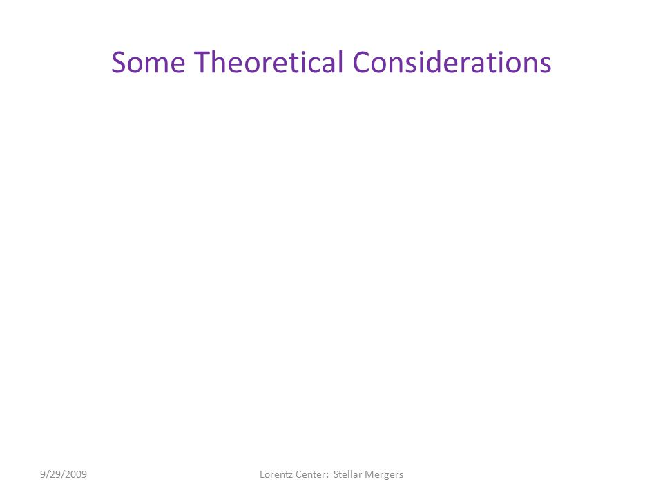 """Some Theoretical Considerations """"Darwin Instability"""" – Has been mentioned several different times over the course of this workshop as relevant to merg"""