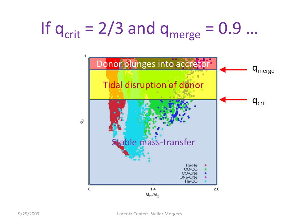 If q crit = 2/3 and q merge = 0.9 … 9/29/2009Lorentz Center: Stellar Mergers Stable mass-transfer Tidal disruption of donor Donor plunges into accreto