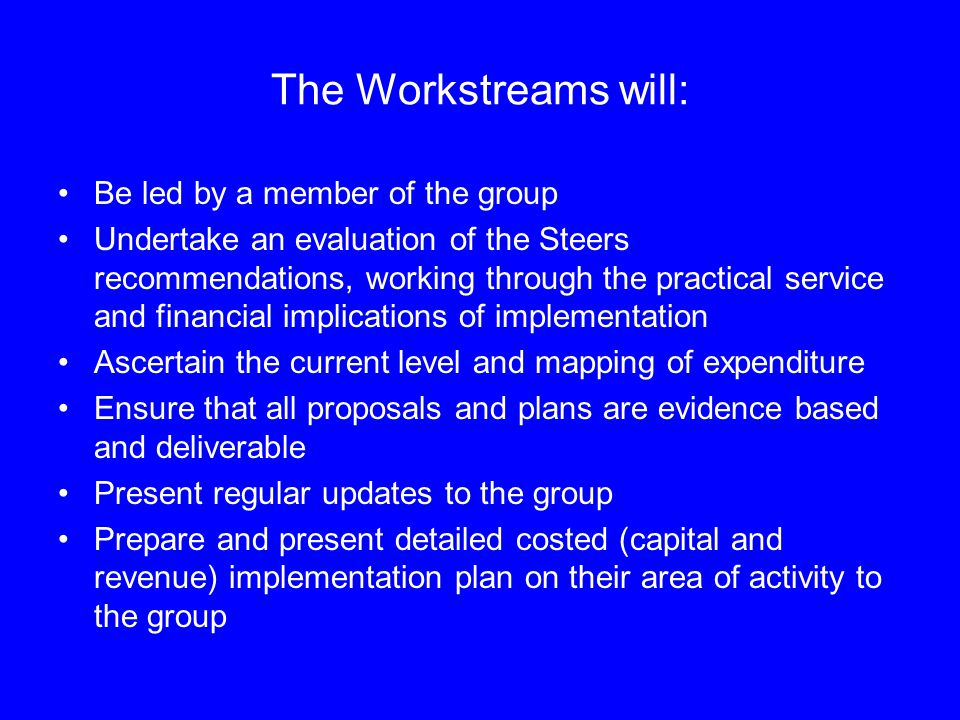 The Workstreams will: Be led by a member of the group Undertake an evaluation of the Steers recommendations, working through the practical service and financial implications of implementation Ascertain the current level and mapping of expenditure Ensure that all proposals and plans are evidence based and deliverable Present regular updates to the group Prepare and present detailed costed (capital and revenue) implementation plan on their area of activity to the group