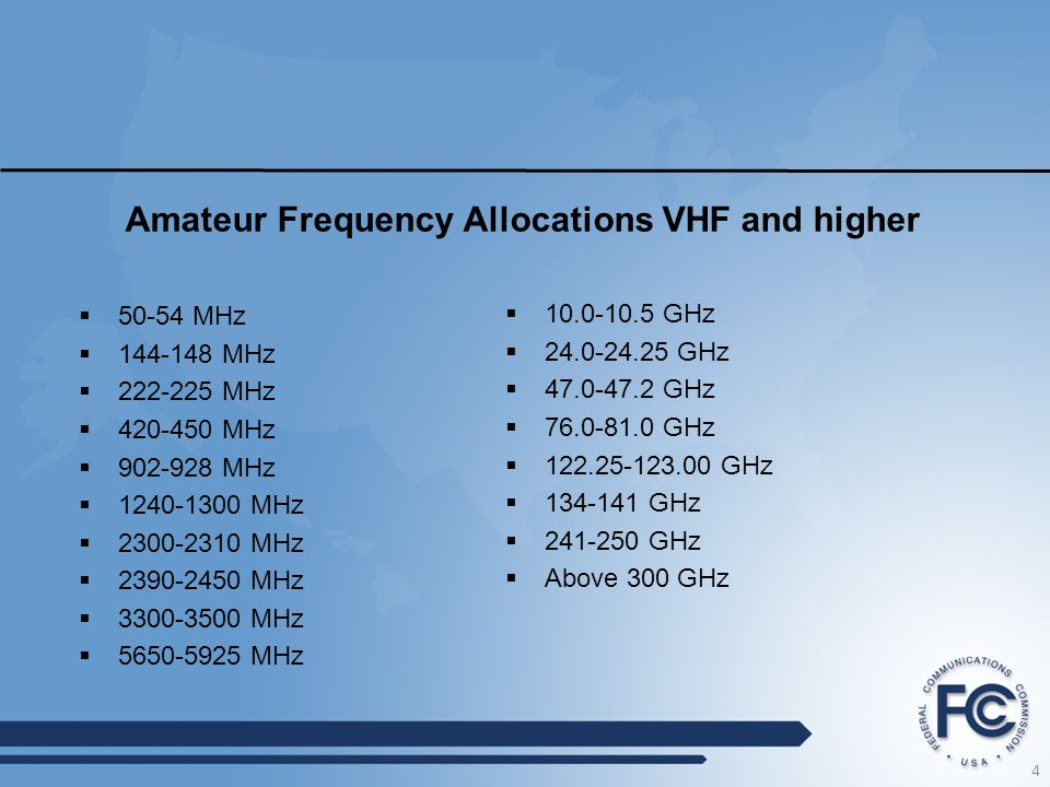 Amateur Frequency Allocations VHF and higher  10.0-10.5 GHz  24.0-24.25 GHz  47.0-47.2 GHz  76.0-81.0 GHz  122.25-123.00 GHz  134-141 GHz  241-