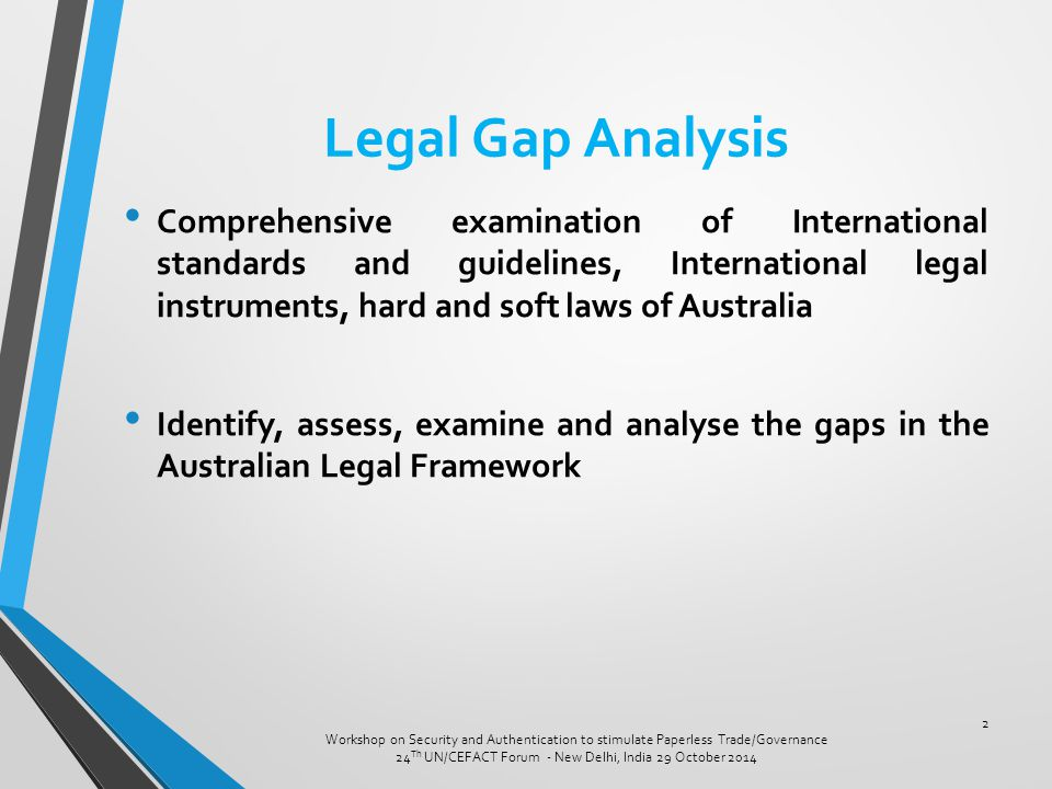 Legal Gap Analysis Comprehensive examination of International standards and guidelines, International legal instruments, hard and soft laws of Austral
