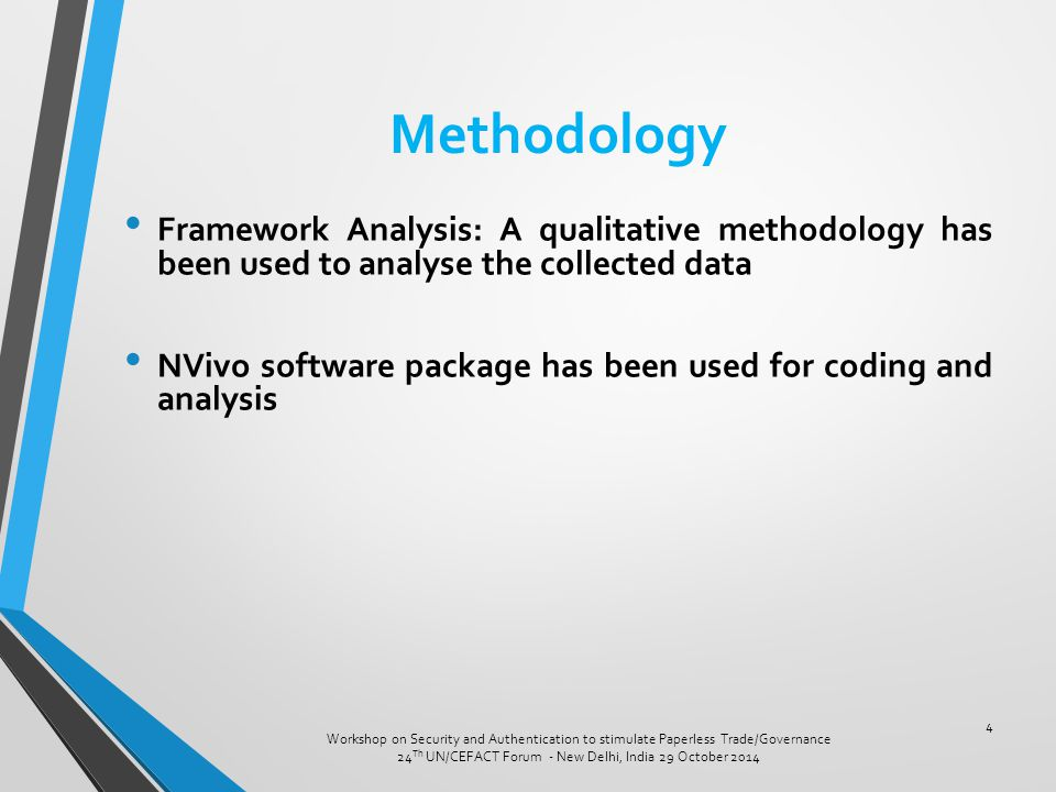 Methodology Framework Analysis: A qualitative methodology has been used to analyse the collected data NVivo software package has been used for coding