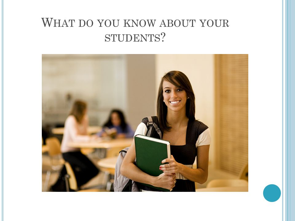 W HAT DO YOU KNOW ABOUT YOUR STUDENTS ?