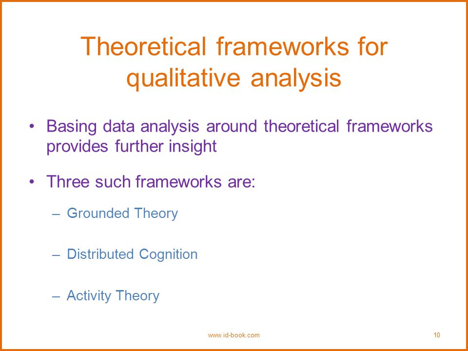 Theoretical frameworks for qualitative analysis Basing data analysis around theoretical frameworks provides further insight Three such frameworks are: